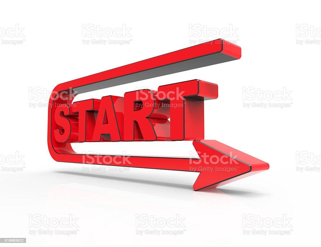 Start sign isolated on white stock photo