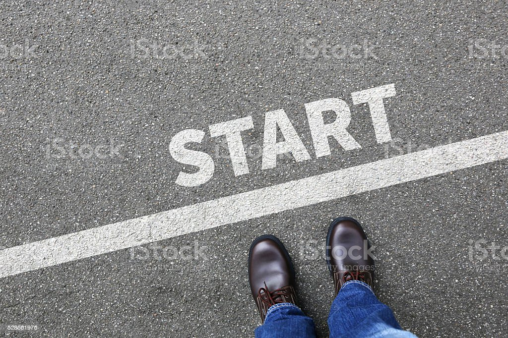 Start starting running race begin beginning businessman business man concept stock photo