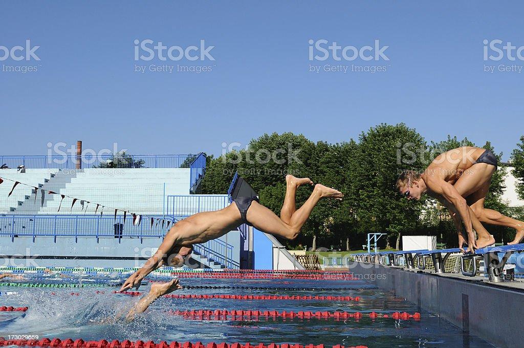 Start swimming race royalty-free stock photo