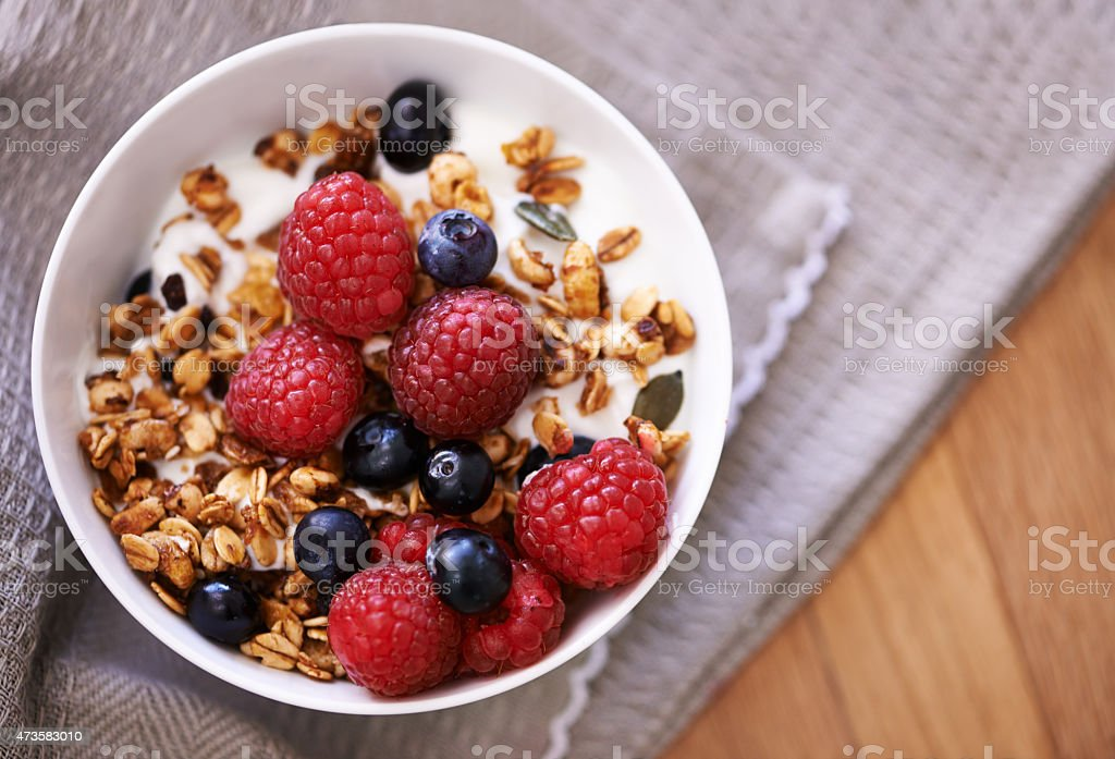 Start the day the healthy way stock photo