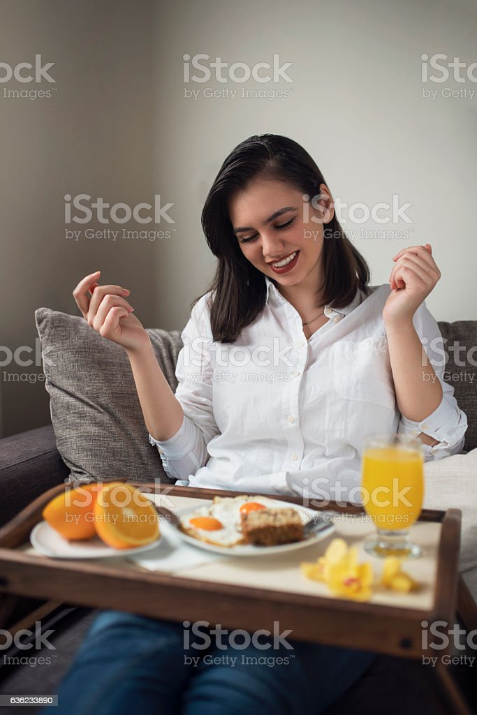 Start the day with happiness stock photo