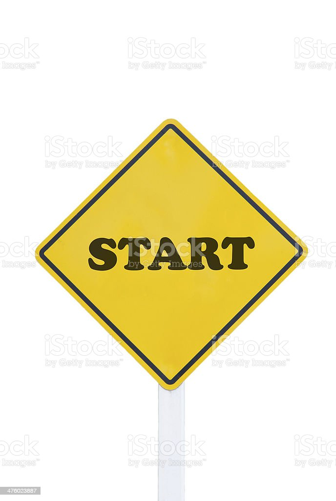 start traffic sign on white background royalty-free stock photo