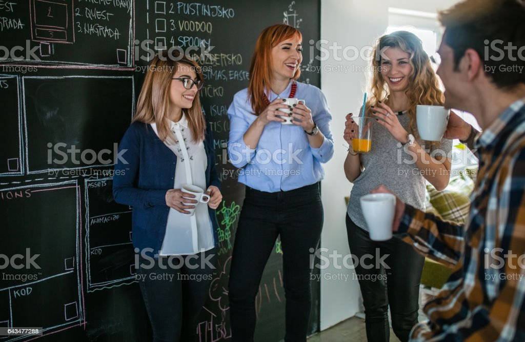 Start up business team on meeting in modern bright office stock photo