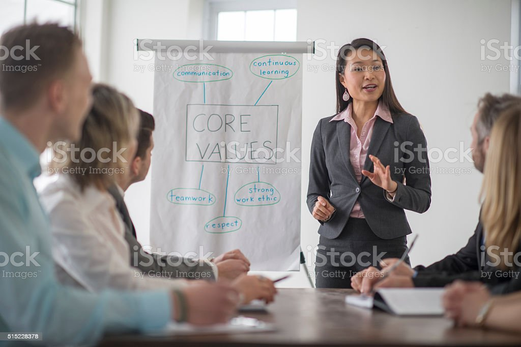 Start Up Company Discussing Values stock photo