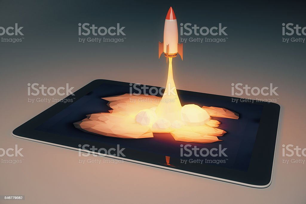 Start up tablet stock photo