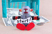 Start word and sitting robot