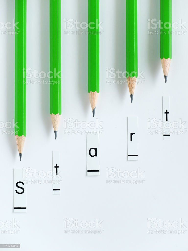 Start  word with Green coloured Pencils. stock photo