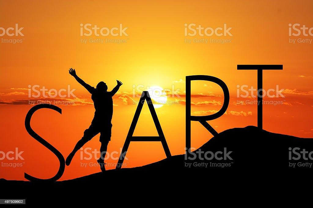 Start yout career on sunset stock photo