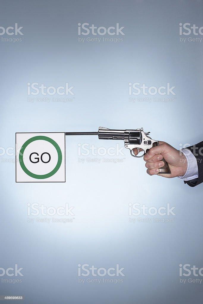 Starters pistol stock photo