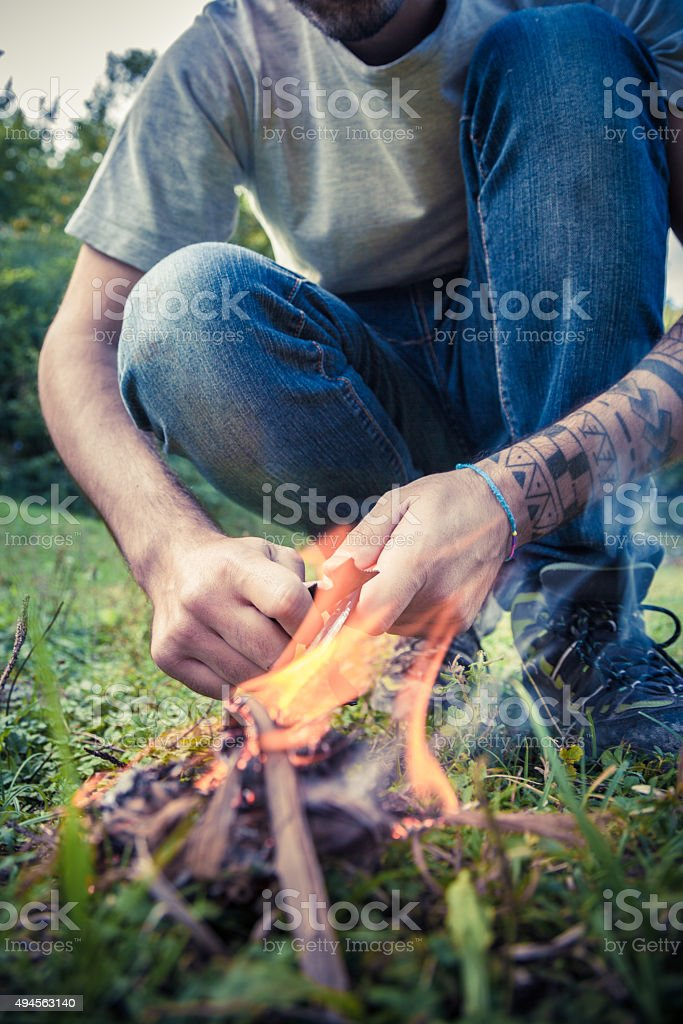 Starting a Fire stock photo