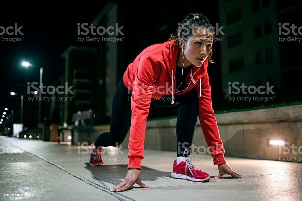Starting a hard workout stock photo