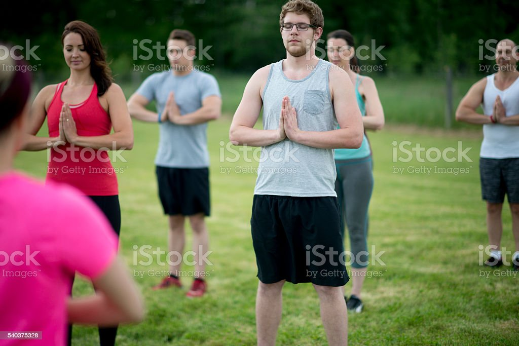 Starting a Yoga Flow stock photo