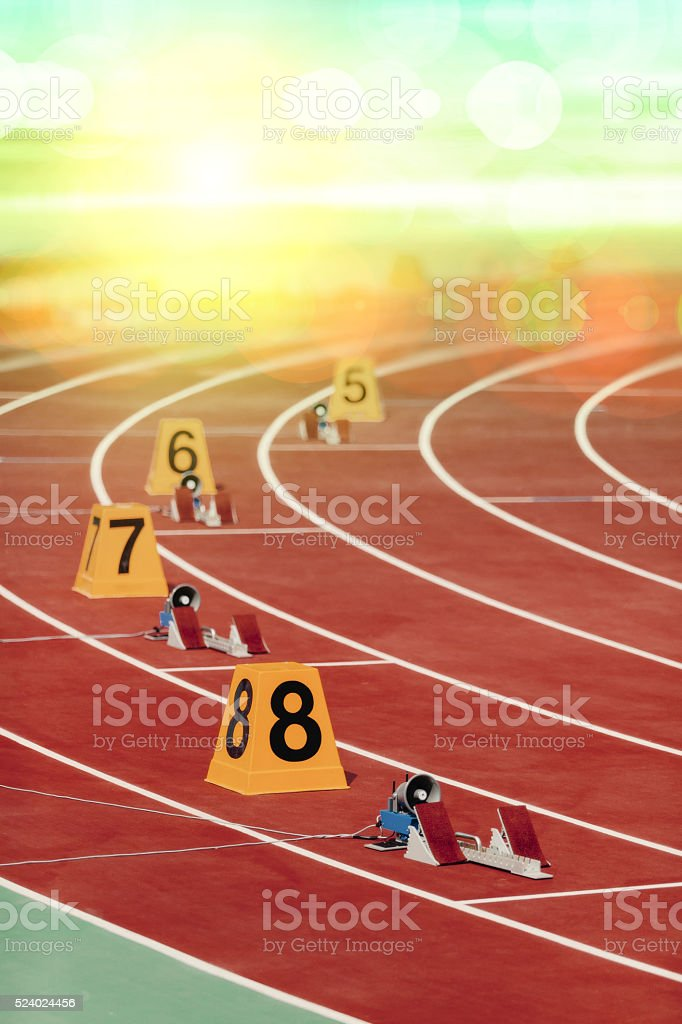 Starting block in track and field stock photo