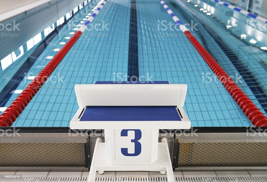 Starting block position number three stock photo