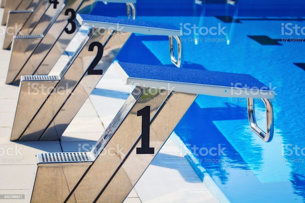 Starting Blocks at swimming pool stock photo