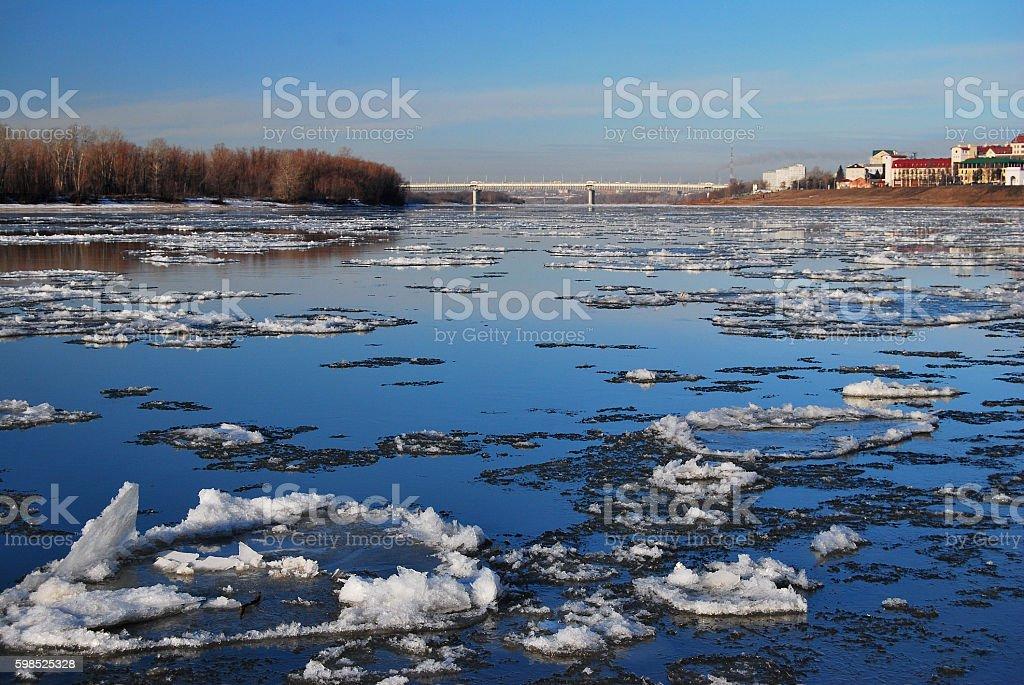 Starting freeze on the Irtysh River stock photo