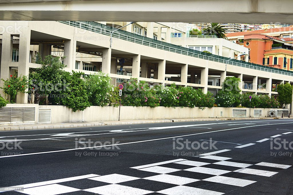 Starting grid, pit lane asphalt Monaco race Grand Prix circui stock photo