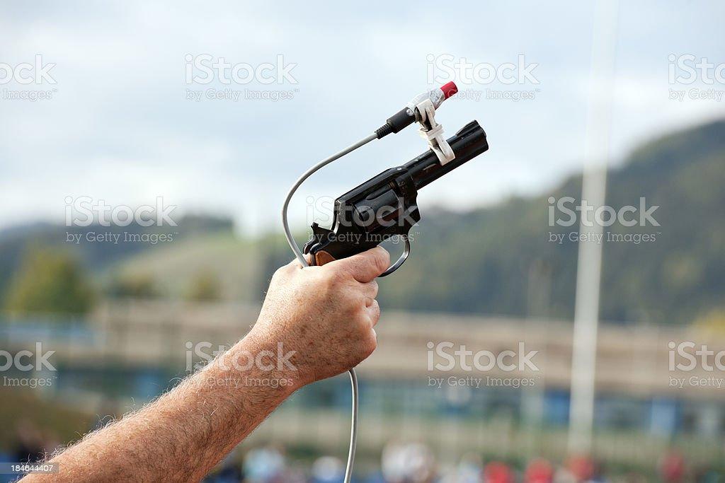 Starting Gun at Beginning of Race stock photo