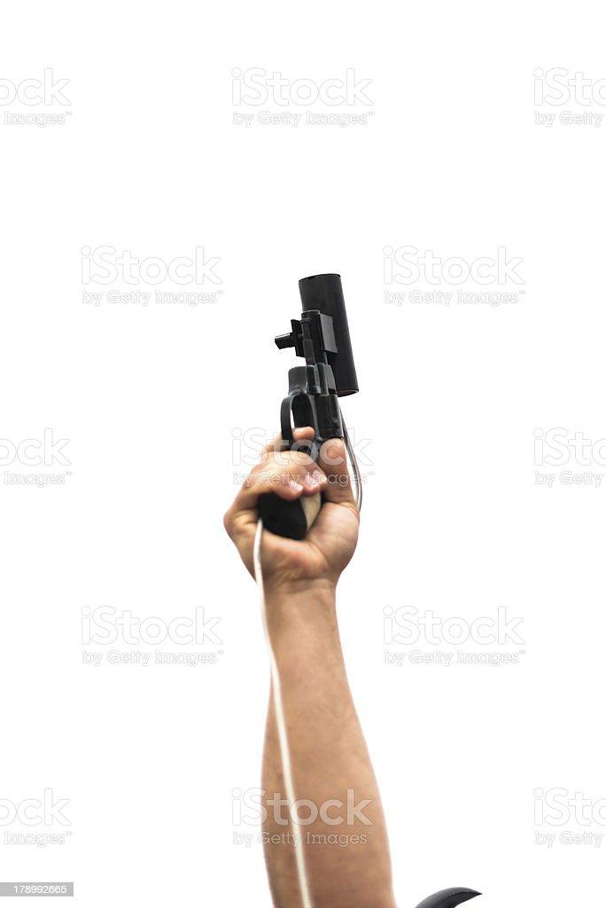 starting gun before shooting stock photo