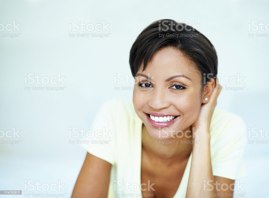 Starting her day with a smile royalty-free stock photo