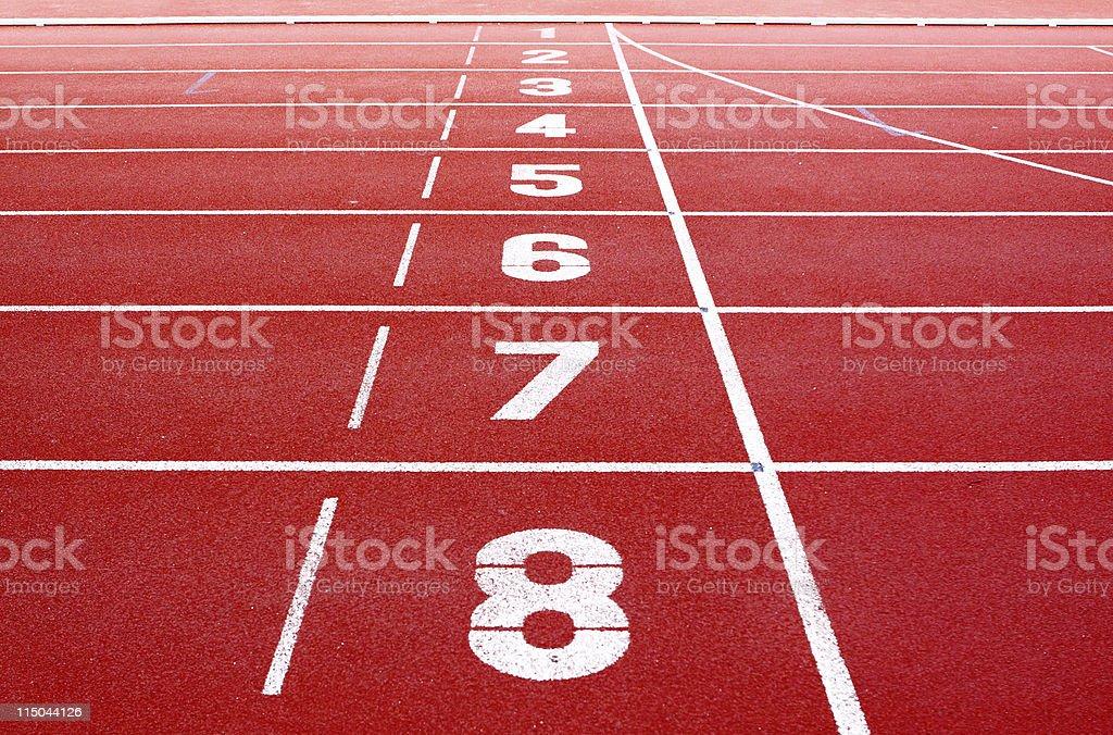 Starting lane of running track stock photo