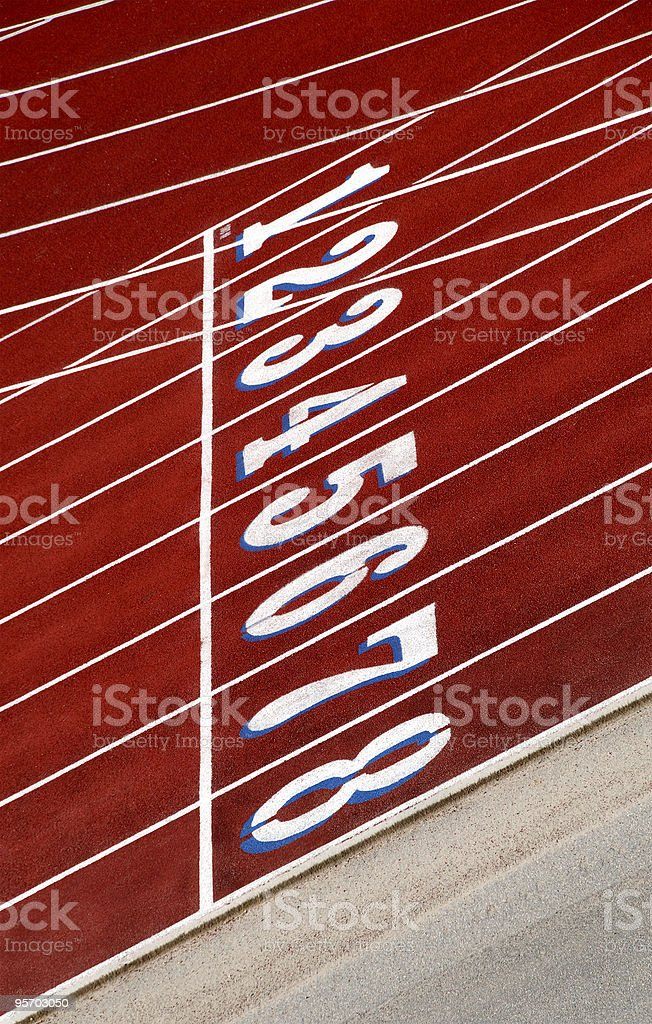 Starting Line Numbered Race Running Track Lanes royalty-free stock photo