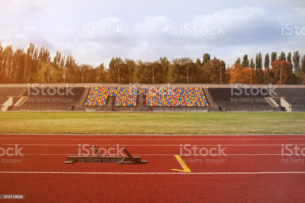 Starting machines of the running track stock photo