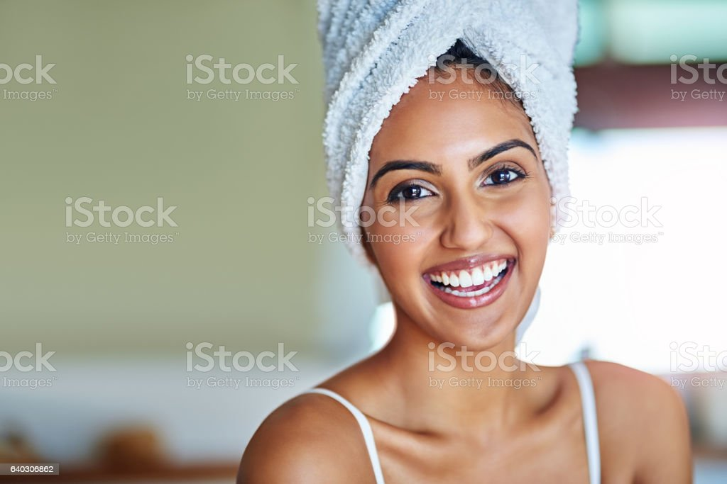 Starting my day feeling fresh and fabulous stock photo