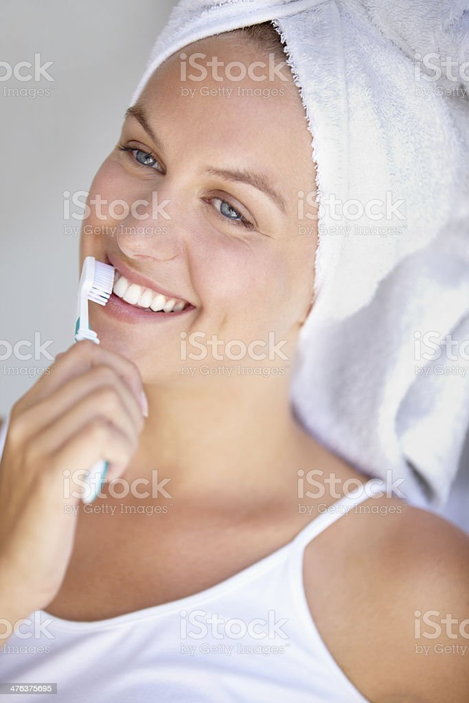 Starting off the morning with a positive attitude royalty-free stock photo