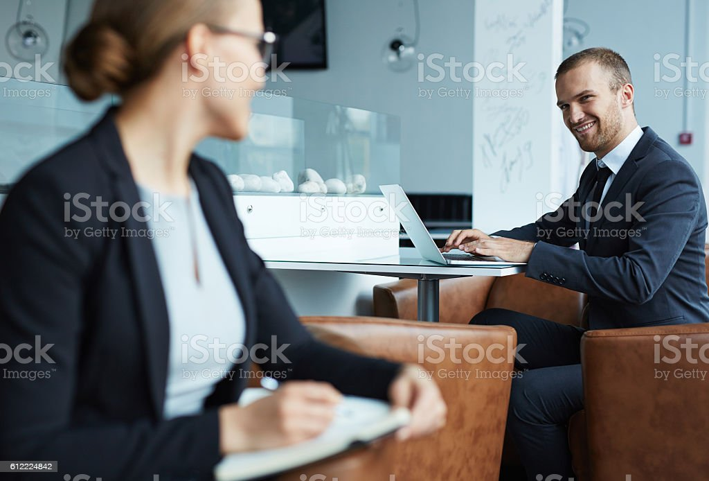 Starting office romance stock photo