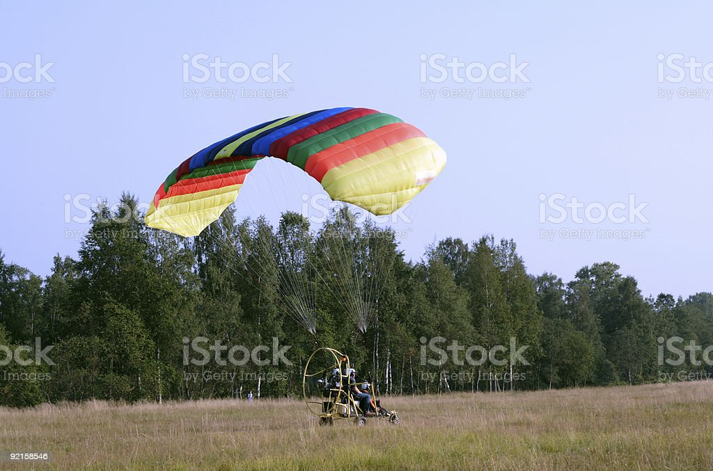 Starting paraglider stock photo