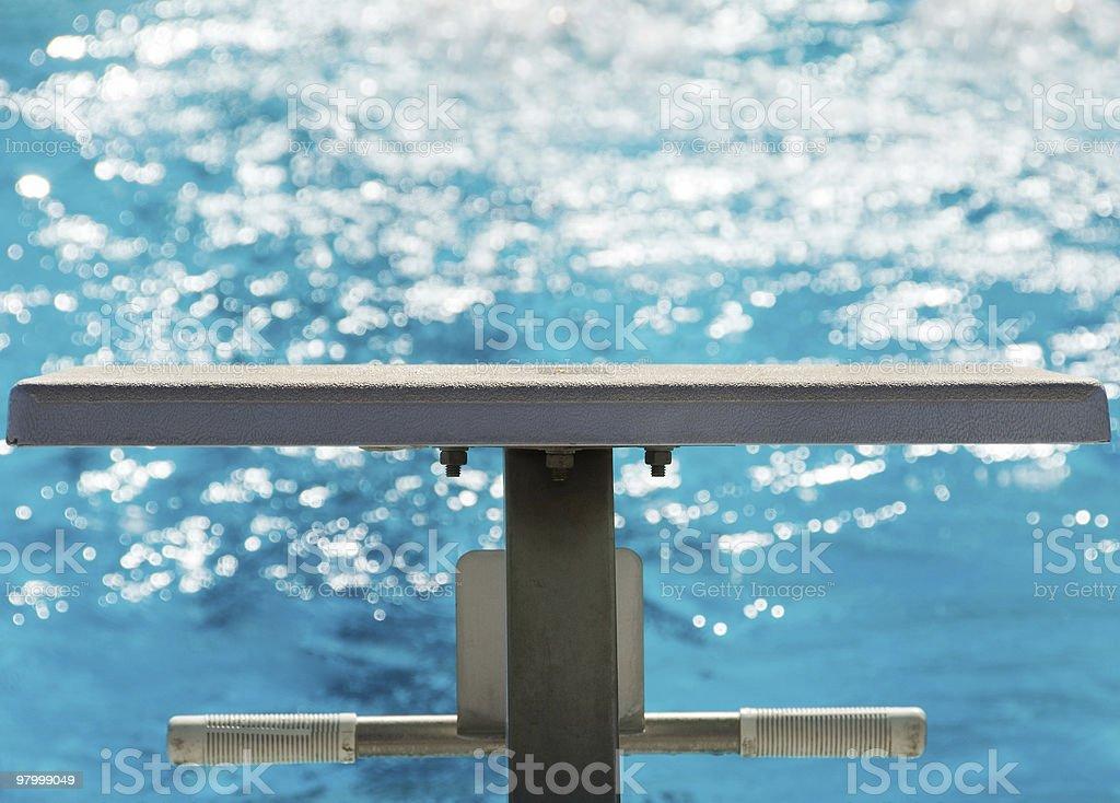 Starting platform at the pool stock photo