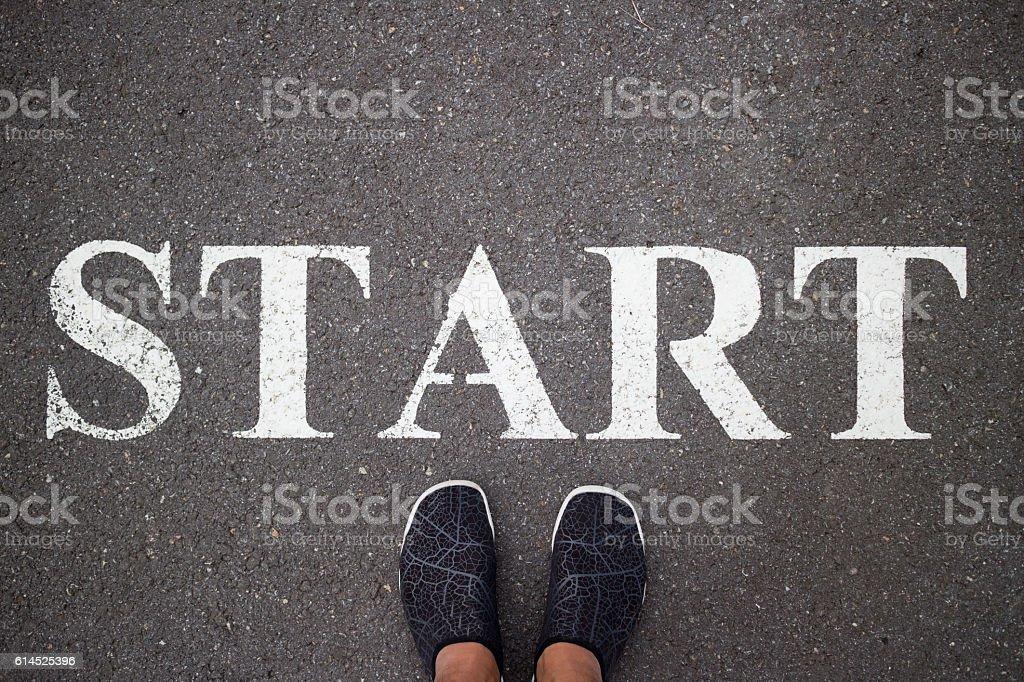 starting point Beginning stock photo
