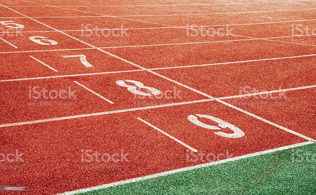 Starting point with running track lane Numbers stock photo