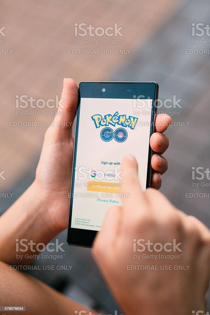 Starting Pokemon Go stock photo