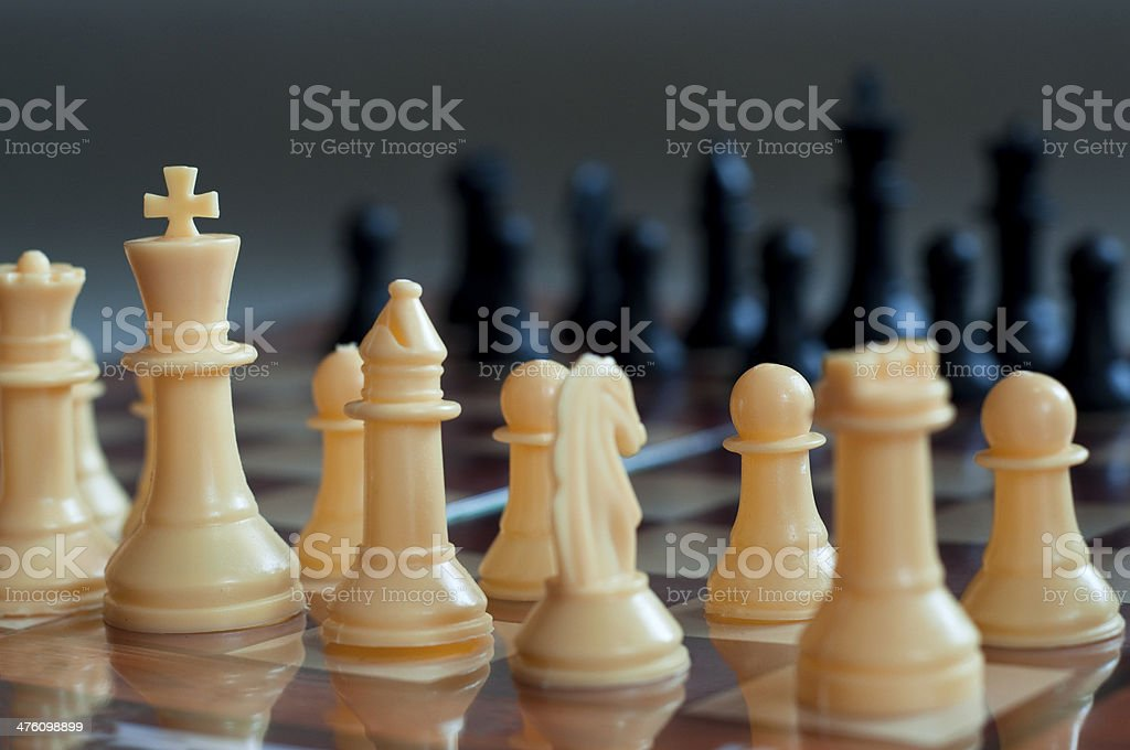 Starting position of a game of chess stock photo