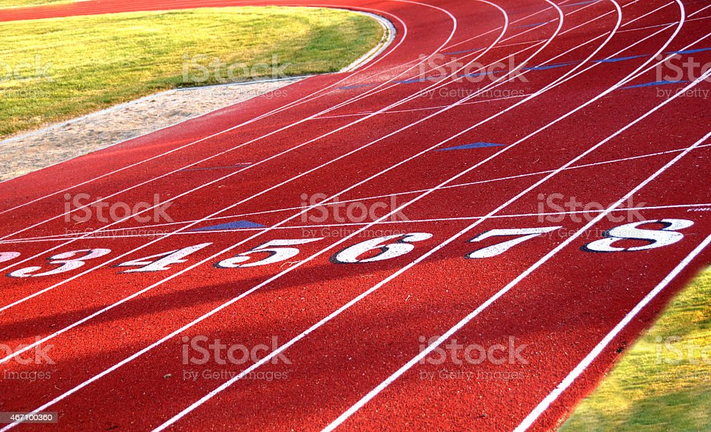 Starting positions at track and field course  stock photo