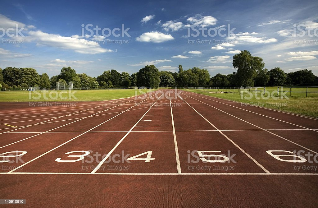 Starting positions on empty running track royalty-free stock photo