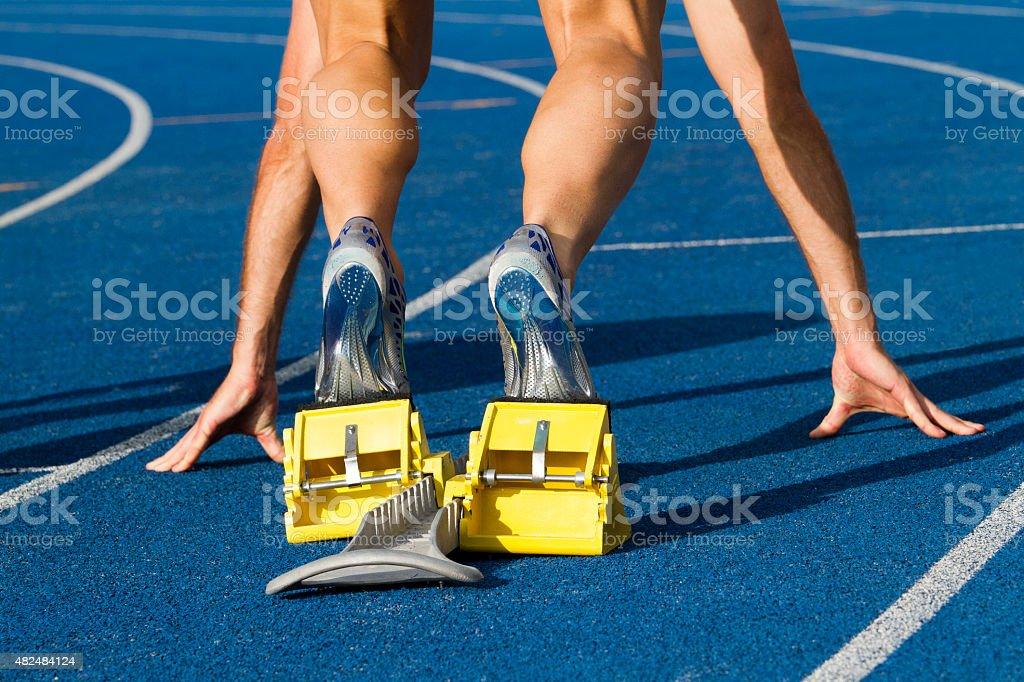 Starting sprinter stock photo