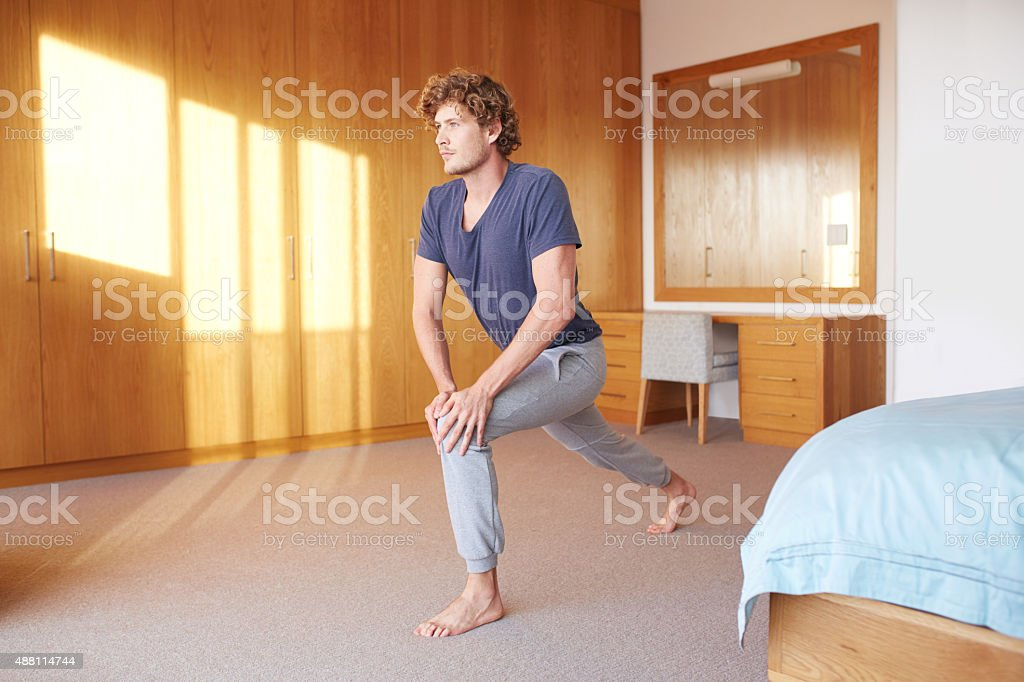 Starting the morning with some calisthenics stock photo