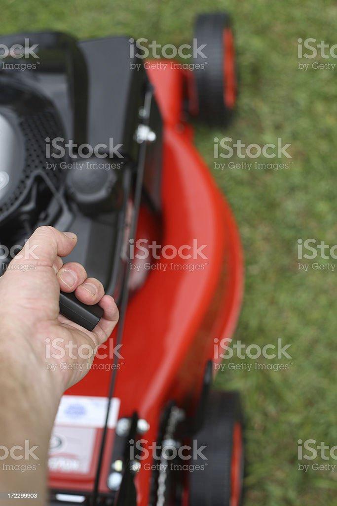 Starting The Mower stock photo