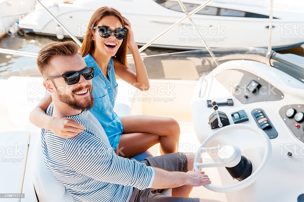 Starting their summer vacation. stock photo