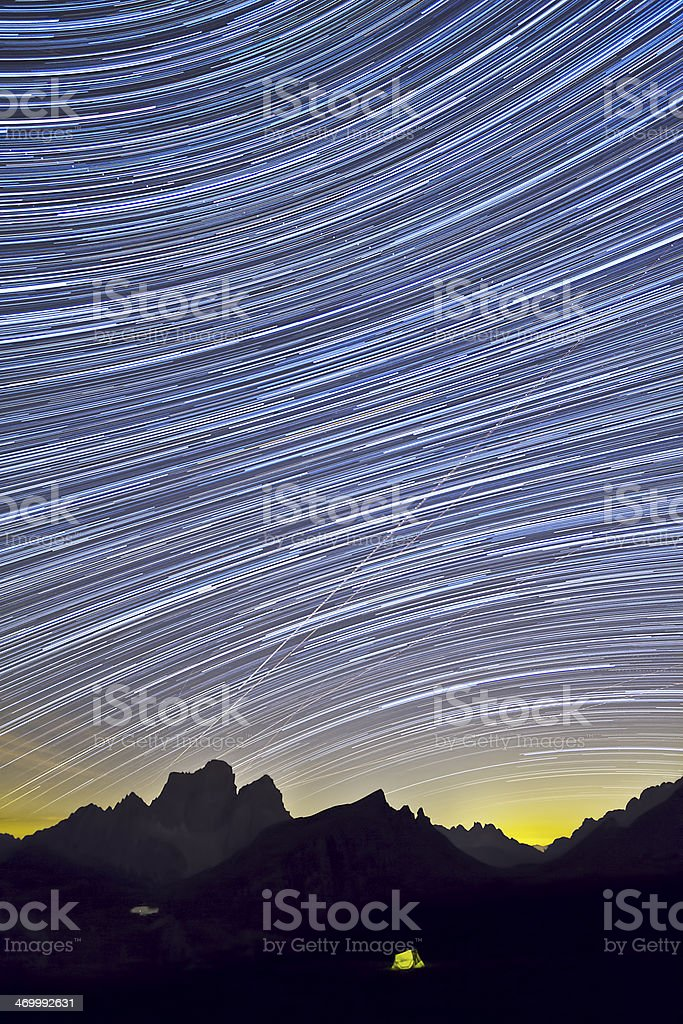 Startrail del Monte Pelmo da Forcella Giau royalty-free stock photo