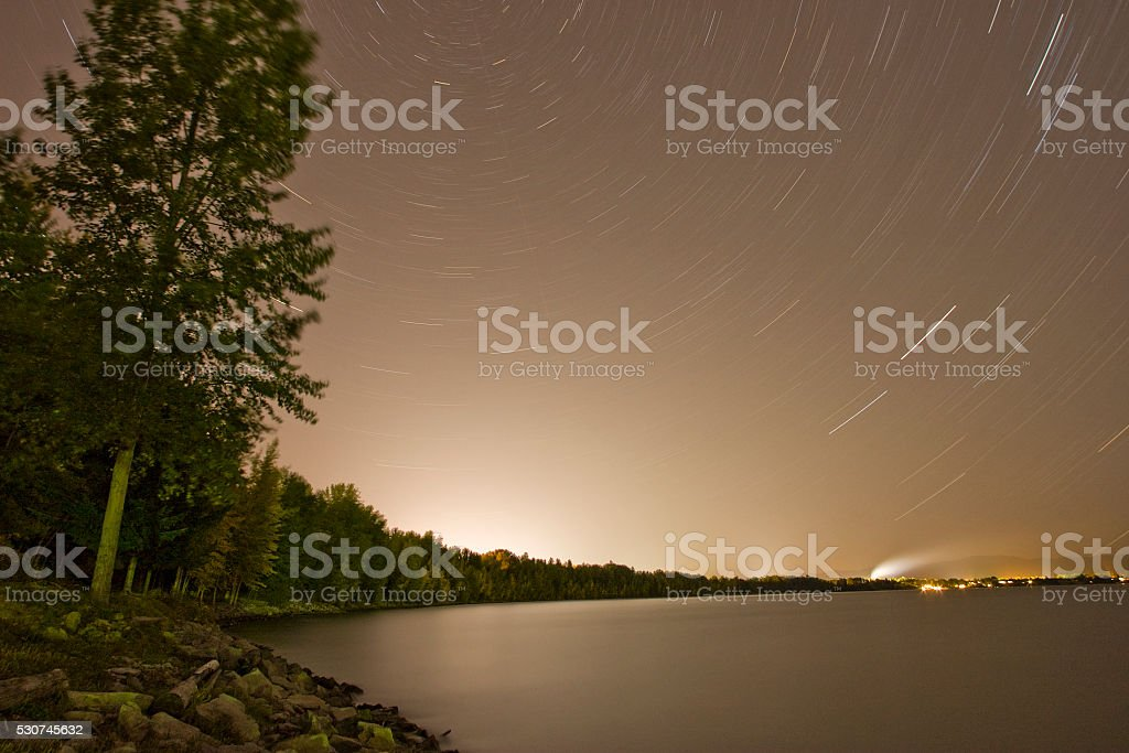 Startrail over Idaho stock photo