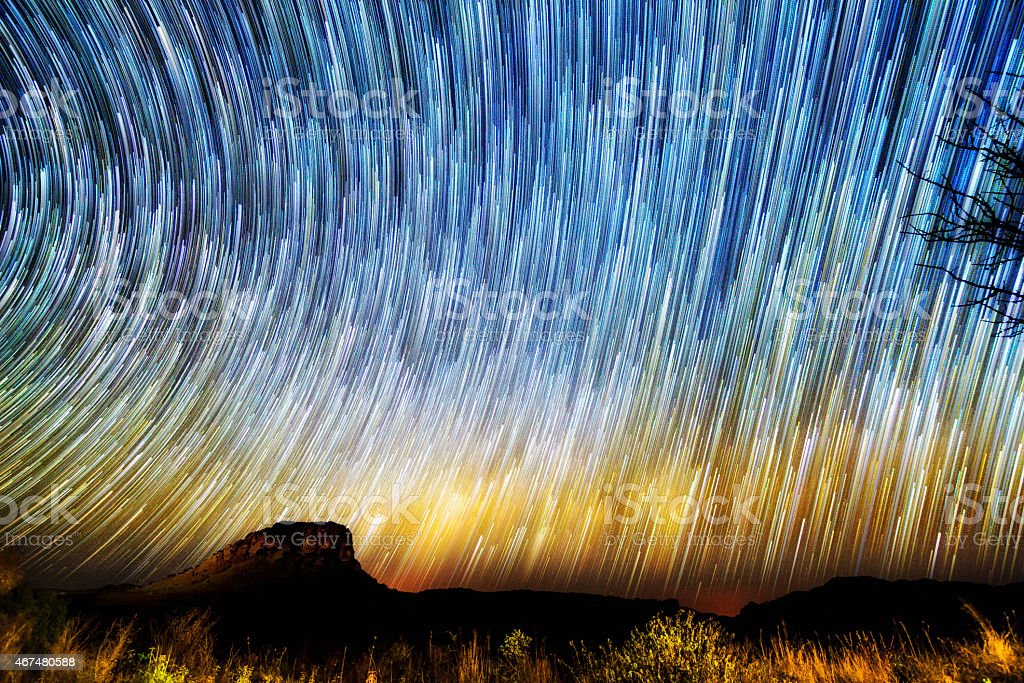 Startrails comets stock photo