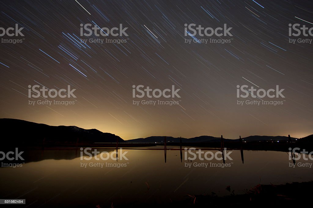 Startrails over the lake stock photo