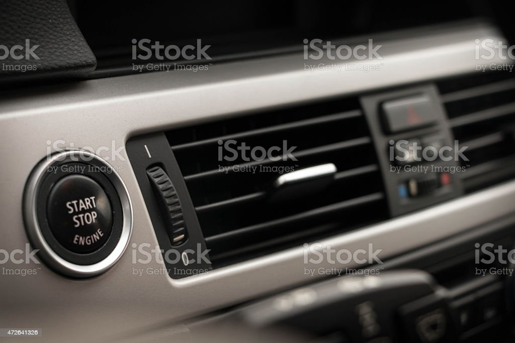 Start/Stop button and air conditioner stock photo