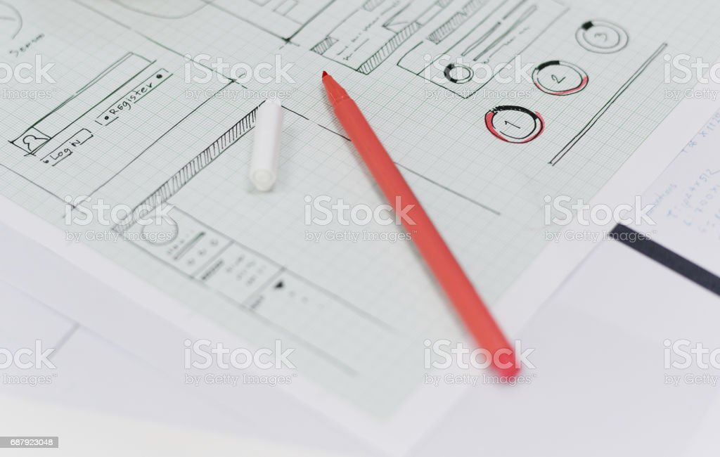 Startup Business Website Content Design Layout on Paper stock photo