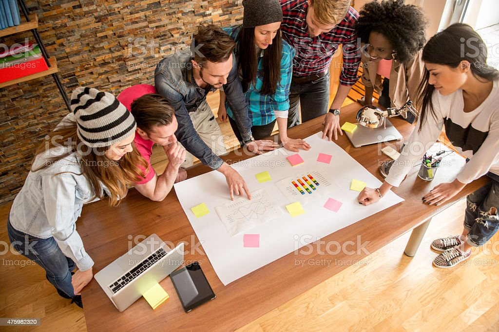Startup company meetup stock photo