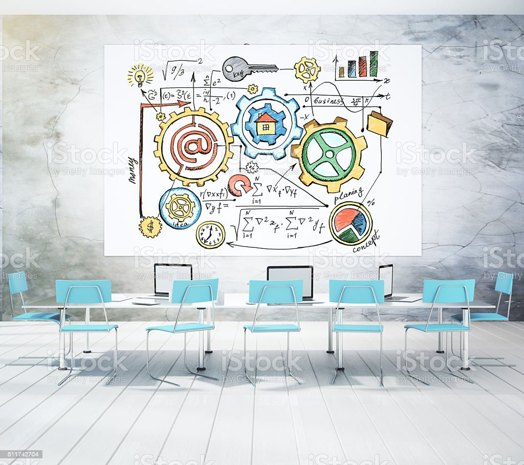 Startup concept drawn on a white board stock photo